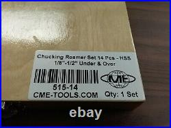 14pc/set Chucking Reamers, Over & Under Sizes HSS #515-14-New