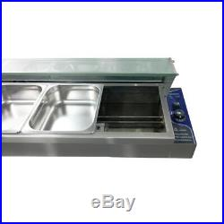 5 Pot Bain Marie Food Warmer Wet Well Temp Stainless Steel Catering Glass Top