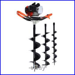 52cc Petrol Earth Auger Digger 3HP V-Type Post Hole Borer Ground Drill With 3 Bits