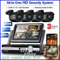 7 Inch 4CH 1080N AHD 5 IN 1 DVR+4X Outdoor 1080P 2MP Camera Home Security System