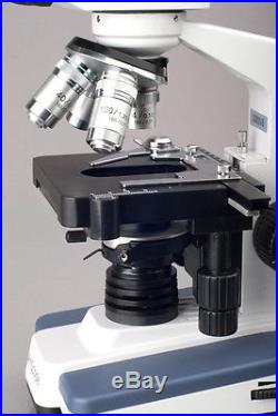 AmScope 40X-2500X Lab LED Compound Microscope w 3D Stage + Slide & Cleaning Kit