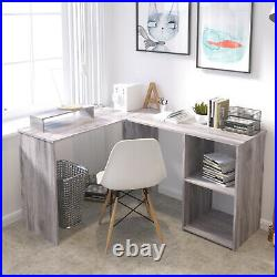 Corner Computer PC Desk L-shaped Table Workstation Home Office Study Table Grey