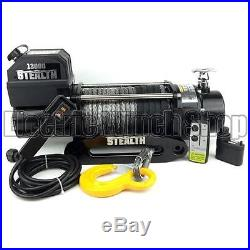 Electric Winch 13000lb Stealth 12v Synthetic Rope Wireless 4x4 UK Seller