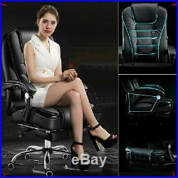 Luxury 360° Office Chair Gaming Swivel Recliner PU Leather Executive Footrest UK