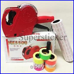 MX-5500 EOS 8 Digits Price Tag Gun +5000 White with Red lines sticker labels + Ink