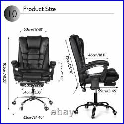 Massage Office Chair Gaming Computer Desk Chairs with Footrest Recliner Leather