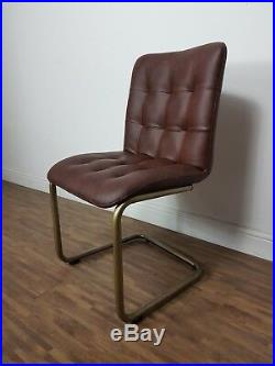 Two (2) Brown Vintage Industrial Retro Style Leather Look Dining Chairs